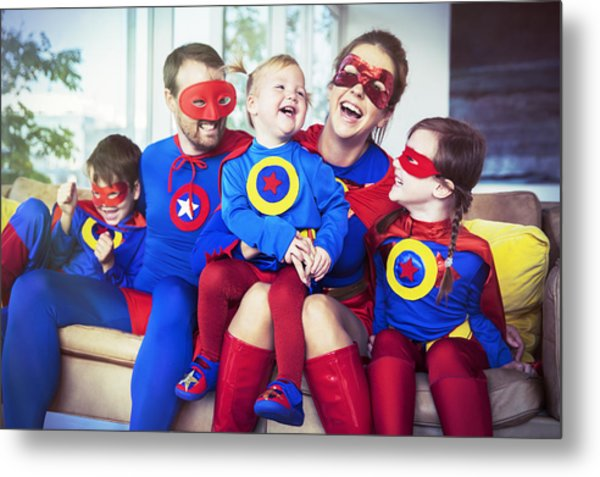 Superhero Family Laughing On Sofa Metal Print by Robert Daly