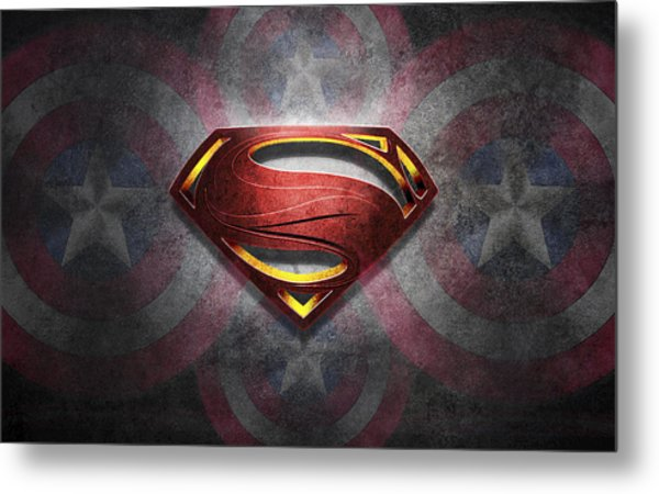 Superman Symbol Digital Artwork Metal Print