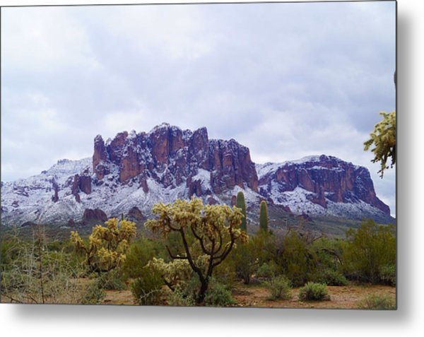 Superstition Mountain Snow Metal Print