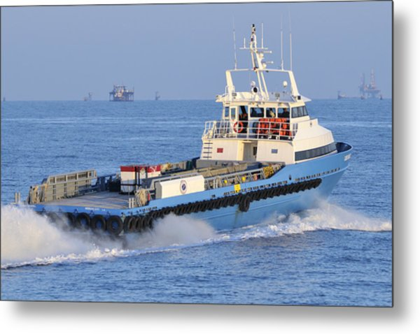 Supply Vessel Heads To Sea Metal Print