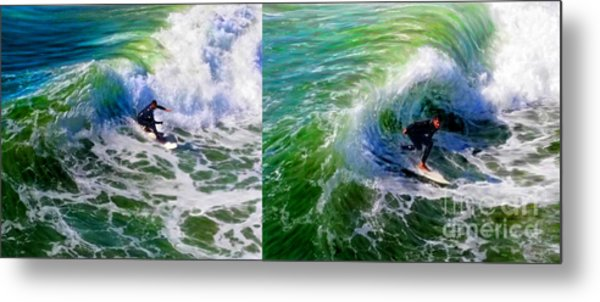 Metal Print featuring the mixed media Surf Carve Duo by Glenn McNary