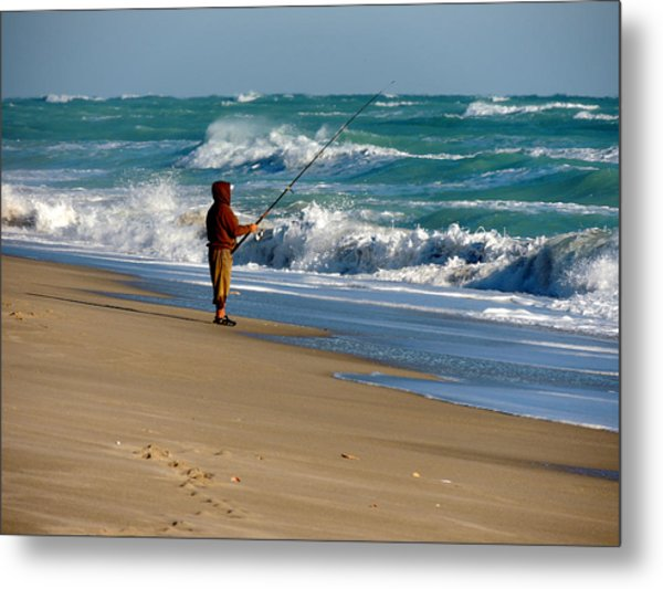 Surf Fishin' The Cold Atlantic Metal Print