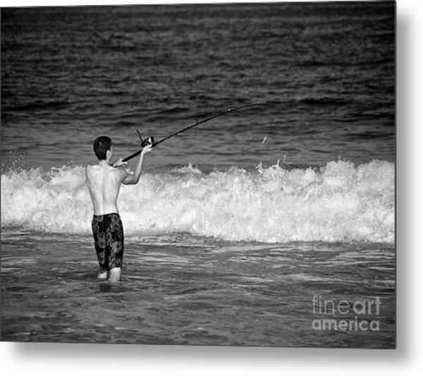 Surf Fishing Metal Print