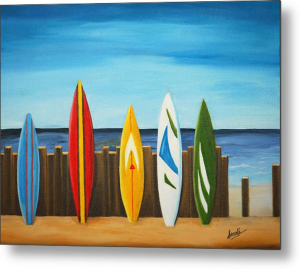 Surf On Metal Print