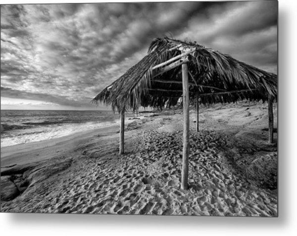 Surf Shack - Black And White Metal Print by Peter Tellone