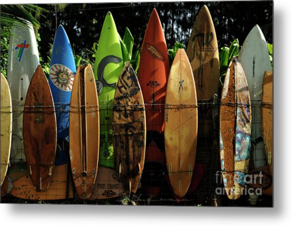 Surfboard Fence 4 Metal Print