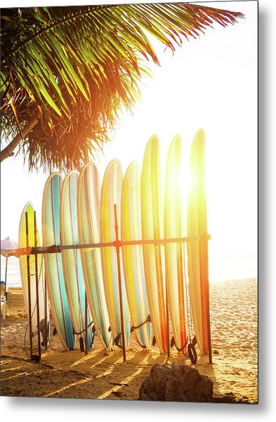 Surfboards At Ocean Beach Metal Print by Arand