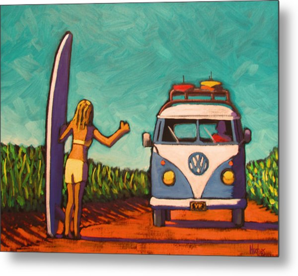 Surfer Girl And Vw Bus Metal Print