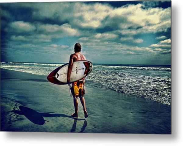 Surfer Walking The Beach Metal Print by James David Phenicie