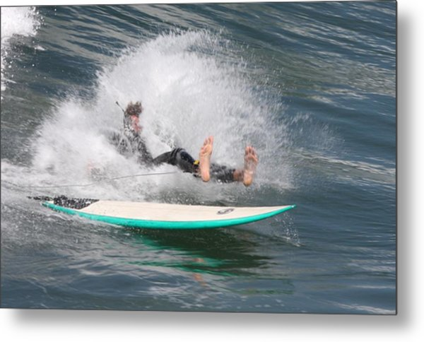 Surfer Wipeout Metal Print
