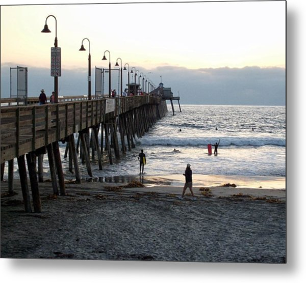 Surfing At Dusk Metal Print