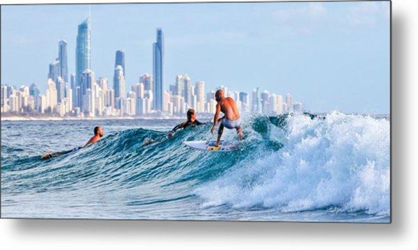 Surfing Burleigh Metal Print