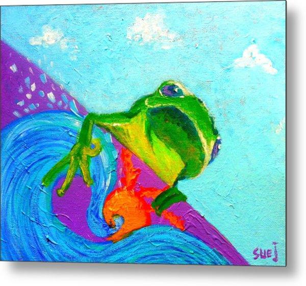 Surfing Froggie Metal Print
