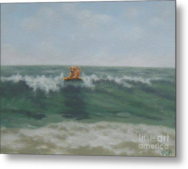 Surfing Golden Metal Print