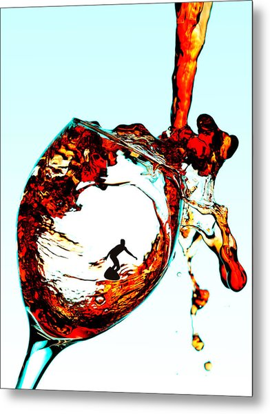 Surfing In A Cup Of Wine Little People On Food Metal Print