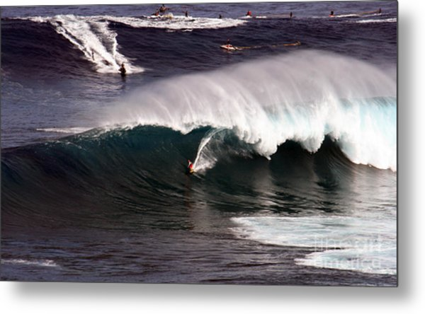 Surfing Jaws Maui  Metal Print by Paul Karanik