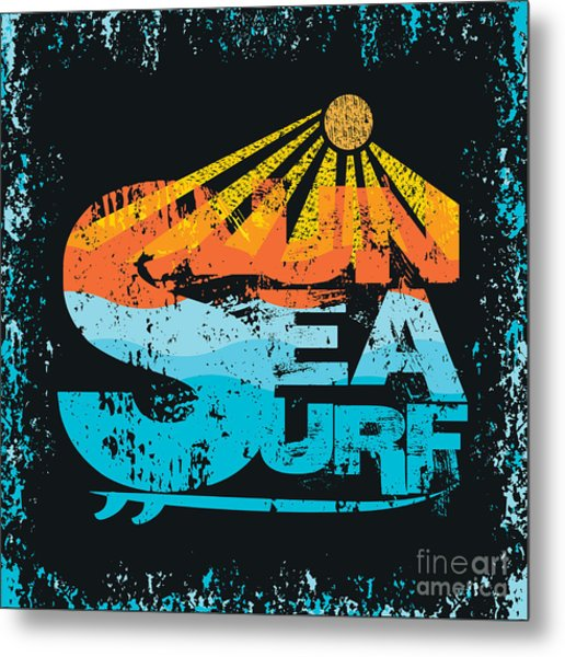 Surfing Miami Beach, Florida Surfing Metal Print