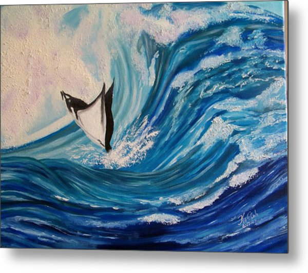 Surfing Stingray II Metal Print by Kathern Welsh