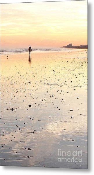 Surfing Sunset Metal Print