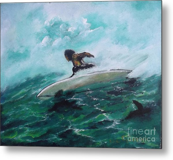 Surfs Up Metal Print by Donna Chaasadah