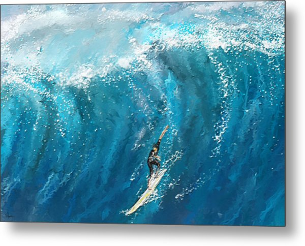 Surf's Up- Surfing Art Metal Print
