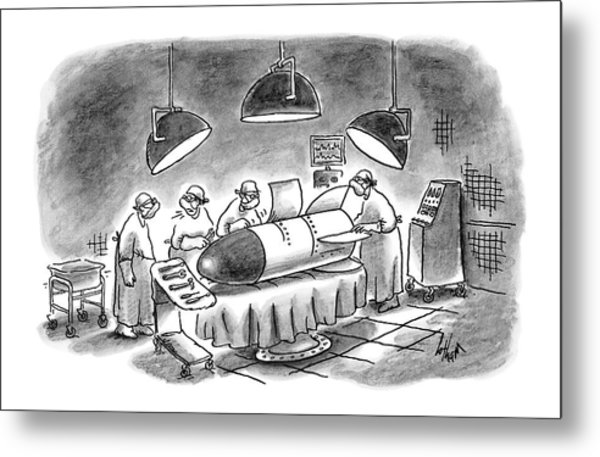 Surgeons Working On A Bomb In Operating Room Metal Print
