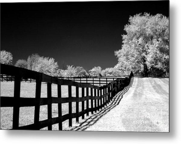 Surreal Black White Infrared Fence Landscape Metal Print