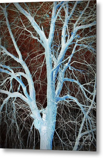 Surreal Blue Tree Metal Print