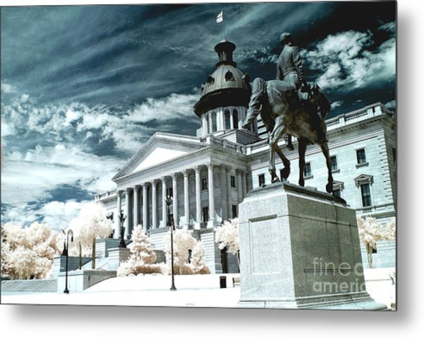 Surreal Columbia South Carolina State House - Statue Monuments Metal Print