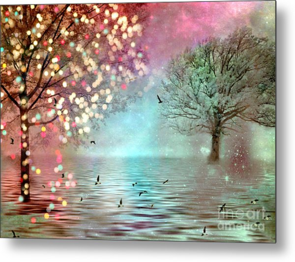 Nature Fantasy Trees Surreal Dreamy Twinkling Fantasy Sparkling Nature Trees Metal Print
