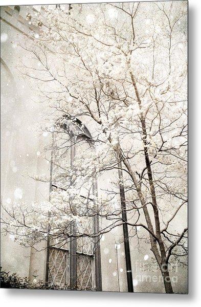 Surreal Dreamy Winter White Church Trees Metal Print