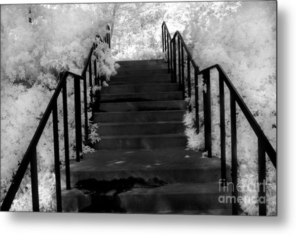 Surreal Stairs Fantasy Black And White Stairs Nature Infrared Staircase Metal Print