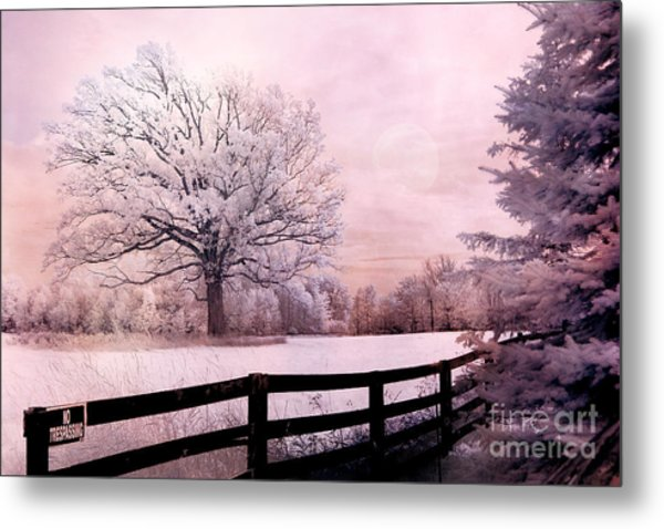 Surreal Fantasy Dreamy Pink Infrared Trees And Nature Landscape  Metal Print