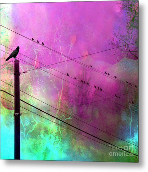 Surreal Gothic Fantasy Raven Crows On Powerlines Metal Print by Kathy Fornal