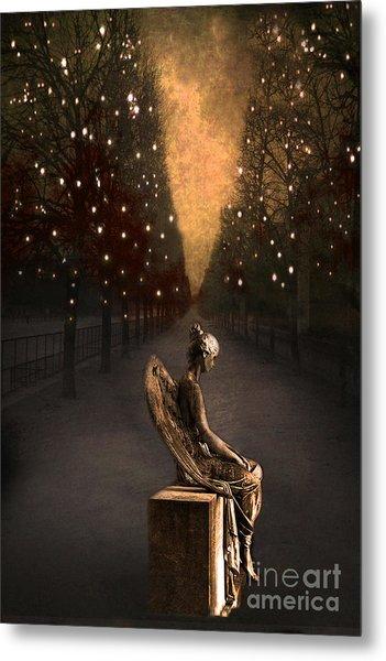 Surreal Gothic Angel Haunting Emotive Angel Sitting On Bench -fantasy Surreal Gothic Angel Prints Metal Print