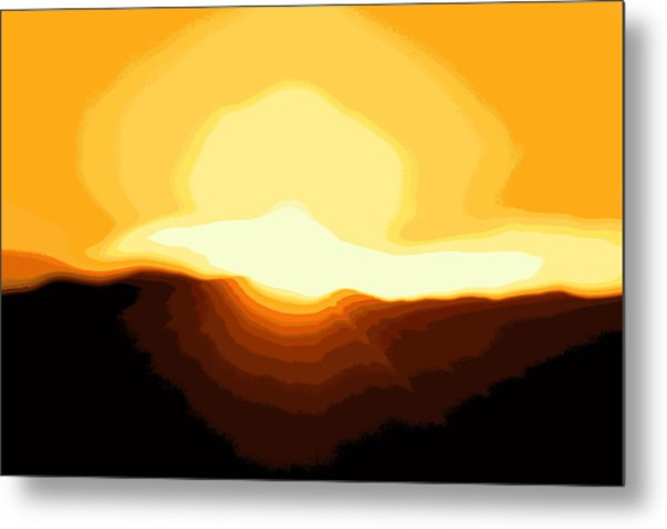 Surreal Mountain Sunset Metal Print