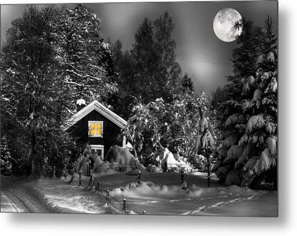 Surreal Winter Landscape With Moonlight Metal Print