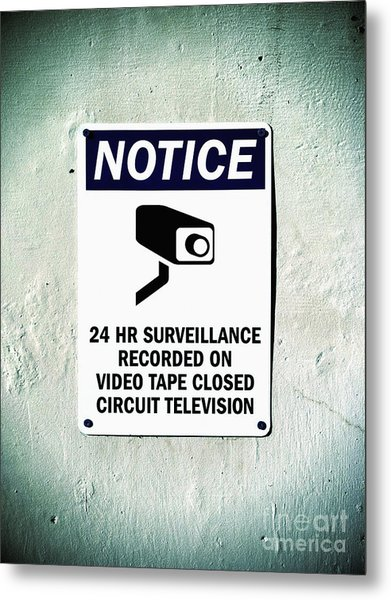 Surveillance Sign On Concrete Wall Metal Print