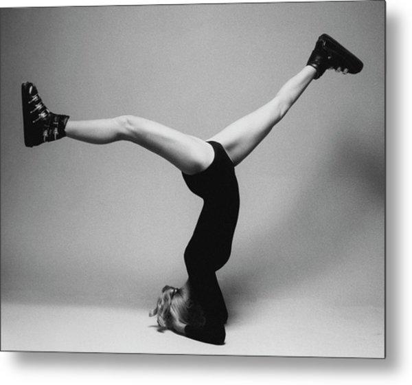 Suzy Chaffee Standing On Her Head Metal Print