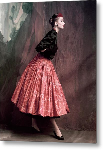Suzy Parker In A Givenchy Skirt Metal Print by John Rawlings