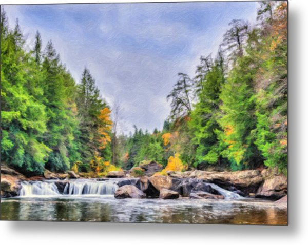 Swallow Falls Oil Painting Metal Print