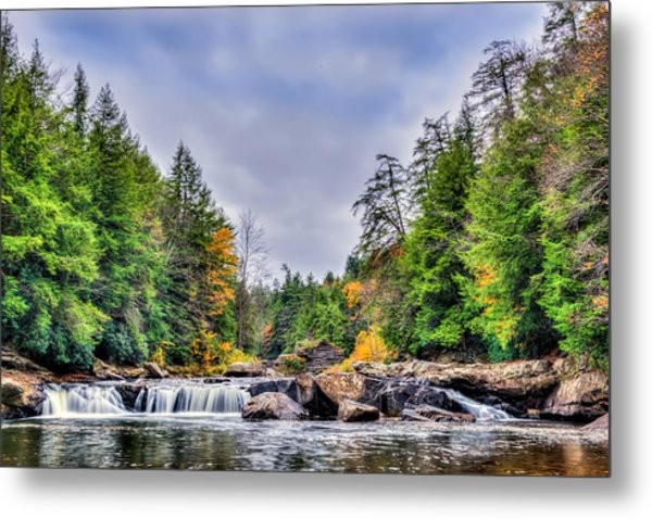 Swallow Falls Waterfall In Appalachian Mountains In Autumn Metal Print