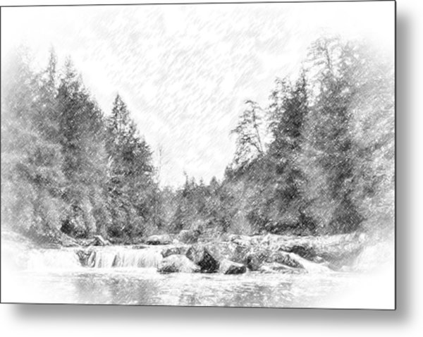 Swallow Falls Waterfall Pencil Sketch Metal Print