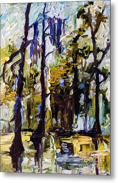 Swamp Morning Cypress Trees Metal Print