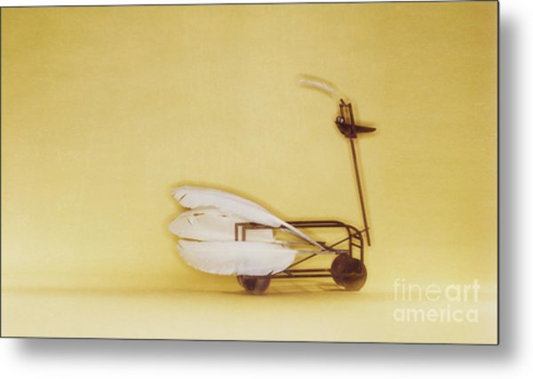 Swan On Wheels Metal Print