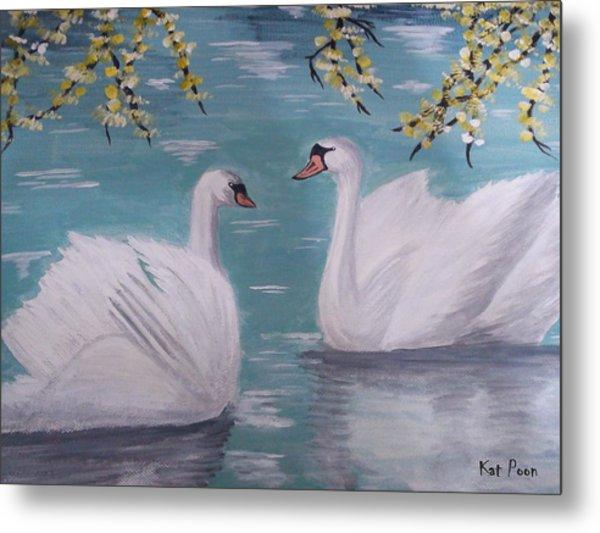 Swans On Pond Metal Print by Kat Poon