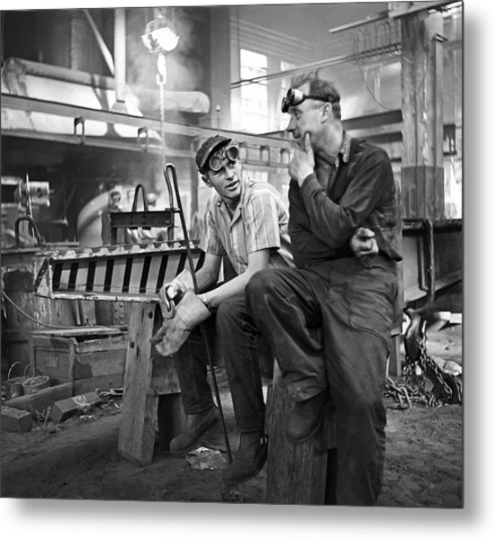 Swedish Foundry Workers Metal Print by David Murphy