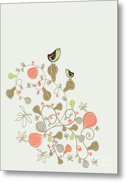 Sweet Bird Wallpaper Design Metal Print