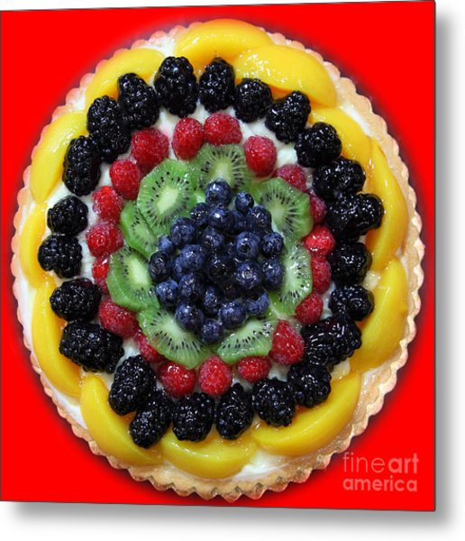 Sweet Treats - Fruit Cake - 5d20920 - Square - Red Metal Print by Wingsdomain Art and Photography