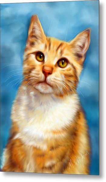 Sweet William Orange Tabby Cat Painting Metal Print